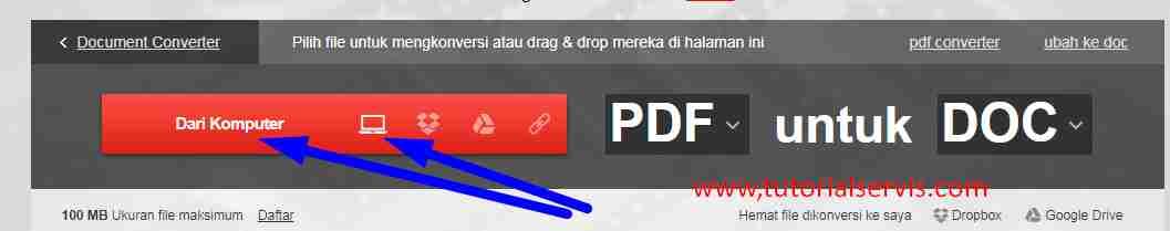 convert pdf ke word via convertio
