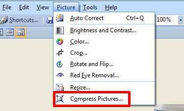cara compress foto dengan ms office