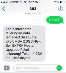 Cek Kuota Via SMS